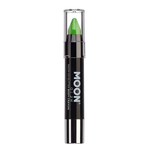 Moon Glow - Bâton Stick de peinture pour visage fluo UV Glitter/Peinture corporelle, maquillage pour le visage et le corps - Vert