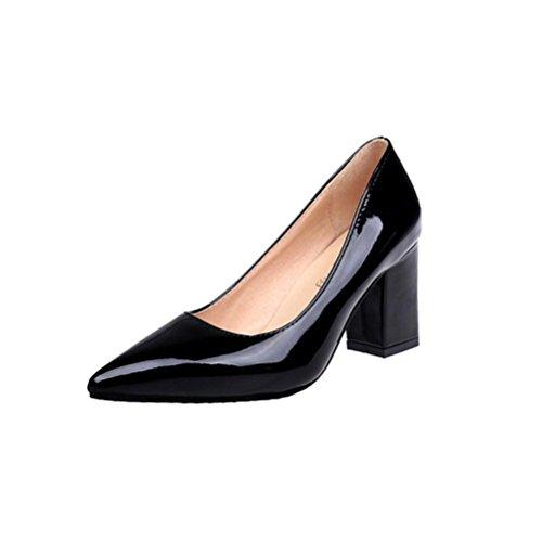 ¡Oferta de liquidación de Covermason! Zapatos de tacón cuadrado de moda para mujeres de tacón bajo Zapatos de tacón alto poco profundos(36 EU, Negro)