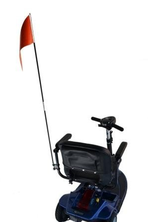 Diestco Orange Folding Safety Flag   Mounting Hardware Included   Mounts Easily to Wheelchair, Power Chair, or Scooter   52 inches long
