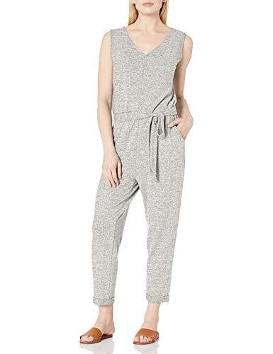 Daily Ritual Cozy Knit Sleeveless Tie-Waist jumpsuits-apparel, Grau meliert, M