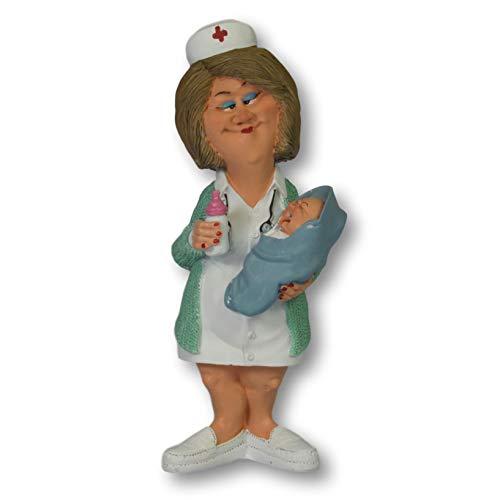 Warren Stratford Figura Decorativa de Resina Pintada a Mano. Alto de 192 mm. Diseño de Enfermera con bebé.