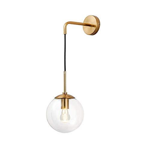 BOKT Mid Century Modern Aplique de pared dorado para montar en la pared, lámpara de lectura minimalista ajustable de latón con bola...