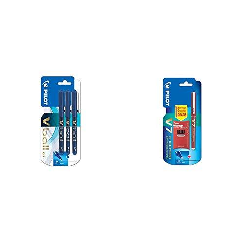 Pilot VB7 - Bolígrafo roller (3 unidades), color azul + V7 - Bolígrafo roller (3 recargas) color rojo, 1 unidad