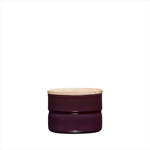 Riess, 2171-201,Vorratsdose mit Eschenholzdeckel, Durchmesser 8 cm, Höhe 6 cm, Inhalt 230 ml, DARK AUBERGINE, KITCHEN-MANAGEMENT, Truehomeware, Emaille