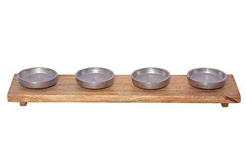 Trendeko Couronne de l'Avent Bougeoir en métal argenté et bois de manguier – Couronne de bougie XL 46 cm