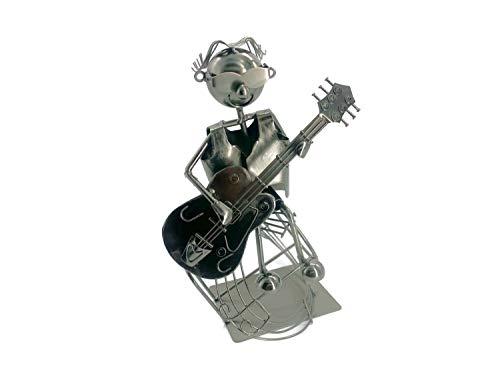 eXODA Weinflaschenhalter Metall Figuren Gitarrist Reinhard Musiker mit Gitarre