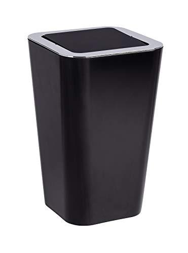 Wenko Kosmetikeimer Candy 6 Liter, Badezimmer-Mülleimer mit Schwingdeckel, Abfalleimer aus Kunststoff, 18 x 28,5 x 18 cm, schwarz