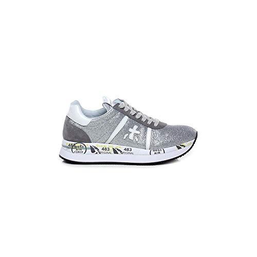 PREMIATA - Zapatillas deportivas para mujer Conny plata de purpurina - CONNY4506 - Talla 37 EU