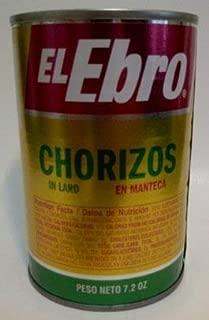 El Ebro Chorizos En Manteca/in Lard 7.2oz Each Can 2Pack