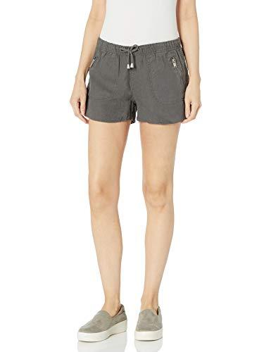 [BLANKNYC] womens Cargo Linen Elastic Waistband Shorts, Grey, 28 US