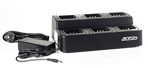 JETFON Multi-K - Cargador múltilple de 6 Unidades para la baterías Kenwood (KNB)