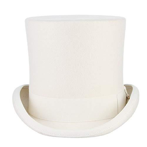 Otoño Invierno Sombrero De Boda 17cm 100% Lana Sombrero De Fieltro Blanco...