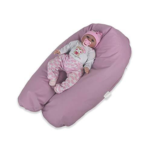 CorpoMED Stillkissen Maxi 194x35cm inkl. Bezug (Lavendel) , handgenŠht aus Deutschland, waschbarer Bezug aus 100% Baumwolle, verwendbar als Schwangerschafts-Kissen und Lagerungskissen