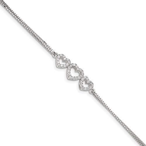 Ryan Jonathan Fine Jewelry Sterling Silver Cubic Zirconia Heart Bracelet, 7'