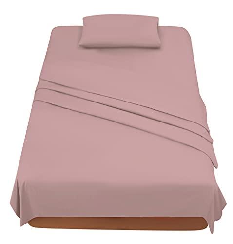Sabanas Cama 90 Rosa Oscuro, Juego Sábanas 90x190 3 Piezas con Bajera 90x200 Ajustable, Encimera y 1 Funda de Almohada 50x80 cm
