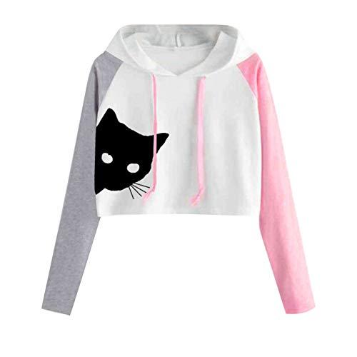 Sudadera con capucha para mujer, diseño de gato negro y ojos blancos, con estampado de bloque de color raglán, manga larga, para amantes de los gatos
