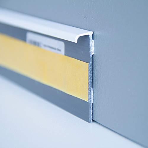 Steffensmeier Teppichbodenzubehör Teppichsockelleiste Sockelleiste selbstklebend uni weiss Abschlusskante Teppichboden Kunststoff ohne Bohren