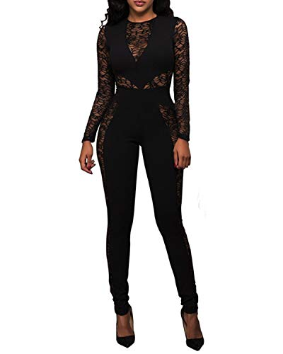 PORRCEY Women Long Sleeve Club Overalls Lace Bodycon Romper Party Jumpsuits (Small, Black)