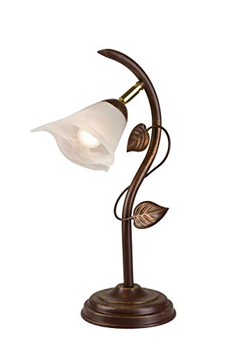 Tischlampe Shabby Braun antik Metall Glas 40cm hoch Floral LOELLA Tischleuchte Schreibtisch Nachttisch