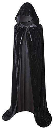 Adult long cape with big hood, unisex design Length (from shoulder to hem): 150cm/59 inch Made of smooth and soft velvet, skin friendly cape Colour: Black, Purple, Red, Blue, Dark Green, Silver Gray Perfect for Halloween, Fancy dress party, Masquerad...