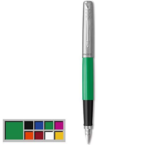 Parker Jotter Originals pluma estilográfica, acabado verde clásico, plumín mediano, tinta negra y azul