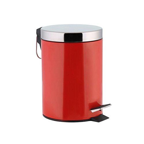 axentia Kosmetikeimer Tretmülleimer 3l-Kosmetik Mülleimer mit Deckel aus Edelstahl Abfalleimer mit Tritt-Treteimer für Bad & WC, Rot/Silber, 17 x 17 x 24 cm