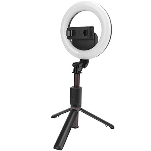 Luz de Relleno de Anillo, Conveniente para Llevar Luz de Relleno Selfie Stick con luz de Relleno de Disparo Horizontal y Vertical de luz para Maquillaje de Video, fotografía de Selfies