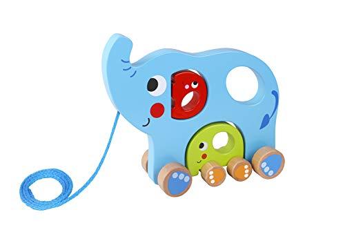 Tooky Toy Jeux en bois - multicolores Jouet à tirer en bois Eléphants