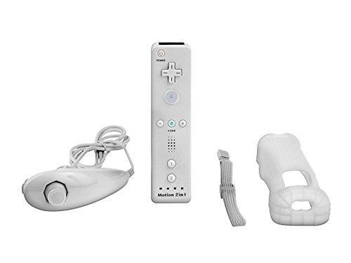 Blanco Nintendo Wii mando Motion Plus paquete con Nunchuk, funda de silicona, correa de muñeca