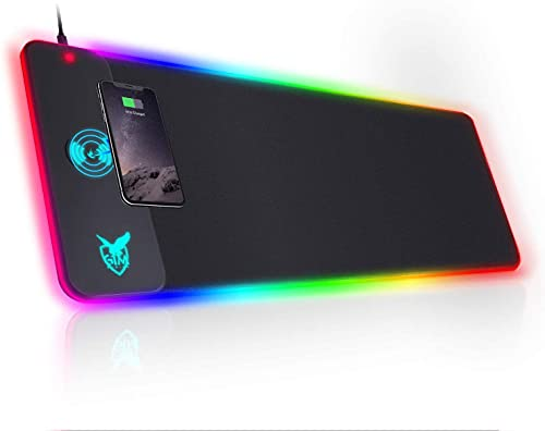 GIM Wireless Charging RGB Gaming Mouse Pad 10W, LED Mouse Mat 800x300x4MM, 10 Light Modes Extra Large Mousepad Non-Slip Rubber Base Computer Keyboard Mat for Gaming, MacBook, PC, Laptop, Desk