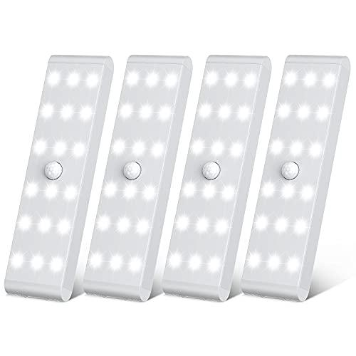 Racokky LED Sensor Licht 18 LEDs,Schrankbeleuchtung,Wiederaufladbar Schranklicht mit Bewegungsmelder,LED Küchenleuchte,Weiches Licht für Kleiderschrank,Kofferraum,Treppe,RV(4 Stück)