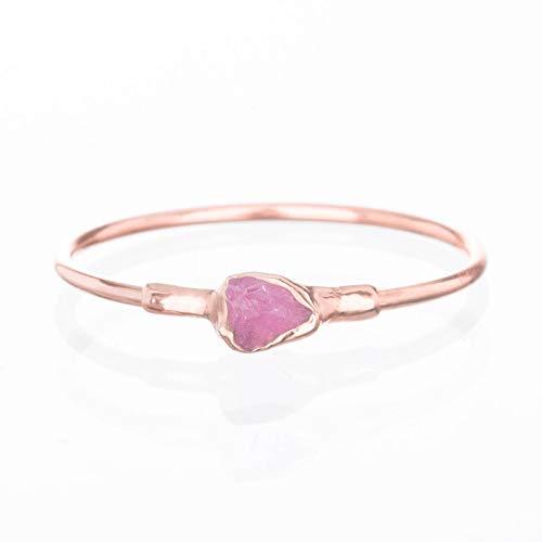 Raw Ruby Ring, Rose Gold, Size 6, July Birthstone, Dainty Boho Style Jewelry