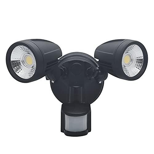 LED Strahler Außen mit Bewegungsmelder, ALUSSO 30W PIR LED-Sicherheitslicht mit 2 Verstellbaren Köpfen, IP54 Wasserdicht Außenstrahler für Garage, Garten, Flutlicht mit 3000K 4000K 5700K Einstellbar