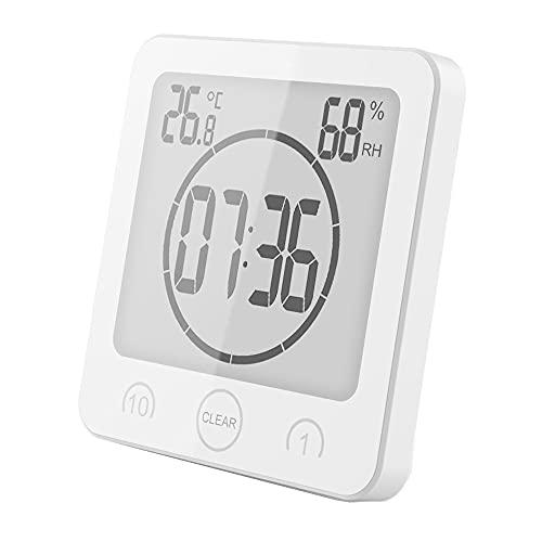VORRINC Badezimmeruhr Digital Wecker Bad Uhr, Shower Clock mit Saugnapf LCD Bildschirm, Baduhr, Luftfeuchtigkeit Temperatur Wanduhren, Countdown Timer Für Dusche Küche (Weiß)
