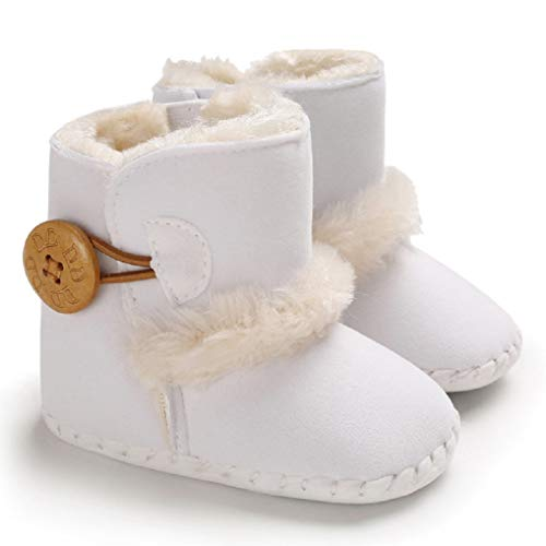 ESTAMICO Baby Girl Plush Winter Snow Bowknot Boots Brown 3-6 Months