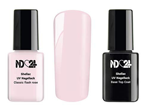 SHELLAC Spar SET - 1 x UV LACK + 1 x BASE TOP COAT - Classic flash rose - ROSA - UV Nagellack Polish Gel-Lack Schellack Soak Off - BESTSELLER Studio Qualität - MADE IN GERMANY