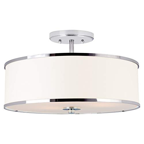 Kira Home Chloe 15' Retro Modern 3-Light Semi-Flush Mount Ceiling Light + White Drum Shade, LED...