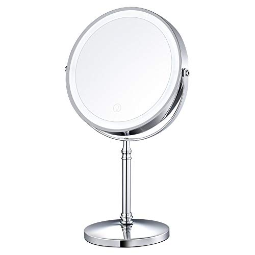 AMZTOLIFE 8' Lighted Makeup Mirror, 10X Makeup Mirror with Lights, Double Sided Dimmable Magnifying Mirror with Light, Rechargeable and Brightness Adjustable, Cordless Vanity Mirror with Lights
