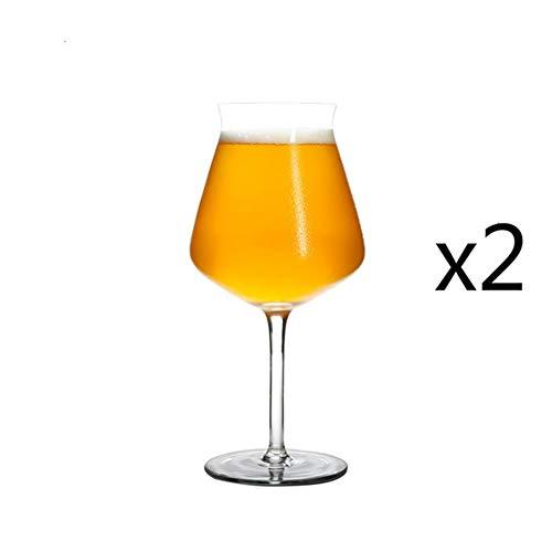 Moshone Professionelle Craft Beer Goblet Hoch Alkohol Glas TEKU IPA Exklusive Nutzung Weinbecher Kristall Brew Bier-Becher Craft-Trinkbecher (Capacity : 450ml 15oz, Color : 2 Pieces Goblet)