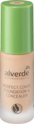 alverde NATURKOSMETIK Perfect Cover Foundation & Concealer Caramel 40, 20 ml, vegan