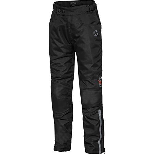 DXR Motorradhose Kinder Tour Textilhose 5.0, Motorradhose Kinder, wasserdicht, Winddicht, atmungsaktiv, weitenverstellbarer Bund, Schwarz, 134 – 140