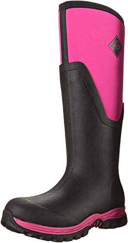 Muck Boots Chore Classic Tall Steel Toe Men's Rubber Work Boot,Black/pink, Women's 9
