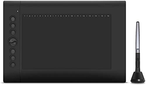 RSTJ-Sjap Tableta de Dibujo gráfico Tableta Android Compatible con la función de inclinación de la Tableta sin batería Stylus 8192 Presión de la Pluma, con 8 Teclas de Acceso Directo para Jugar Ous