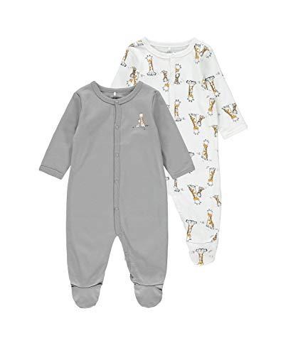 NAME IT Unisex Baby Nbnnightsuit 2p W/F Alloy Giraffe Noos Kleinkind-Schlafanzüge, 68 (2er Pack)