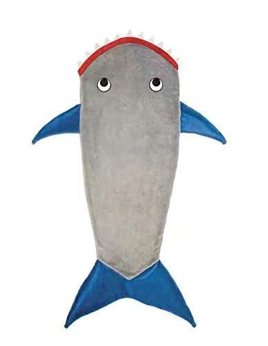 AShanlan Hai Decke Schlafsack für Kinder Jungen mit Haifisch Zähne Schwanz, Warm Weich Fleece Flanell Snuggle Steppdecke Mermaid Schwanz Blanket, 50 x 150cm (Grau)
