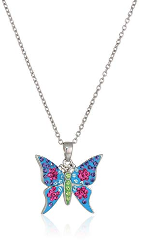 Silver Plated Crystal Multi Color Butterfly Pendant Necklace, 18