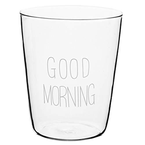 Verres Verre tasse créative Good Morning tasse de petit-déjeuner transparente tasse de fleurs/tasse de boissons fraîches tasse de jus (Color : A, Size : M)