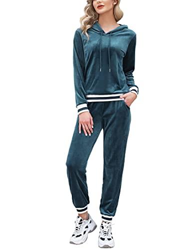 NC Damen Hausanzug Velours Jogginganzug Trainingsanzug mit Samtoptik Weich Nicki Kapuzejacke+Hose mit Kordelzug und Taschen