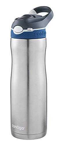 Contigo Trinkflasche Ashland Chill Autospout mit Strohhalm, Edelstahl Wasserflasche, auslaufsicher, Isolierflasche für Sport, Fahrrad, Wandern, 590 ml
