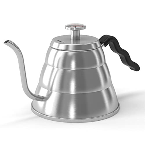 Coffee Gator Gooseneck Kettle - 34oz Stainless-Steel, Stove Top Barista Standard Pour Over Tea & Coffee Kettle w/ Precision Drip Spout and Built-In Thermometer